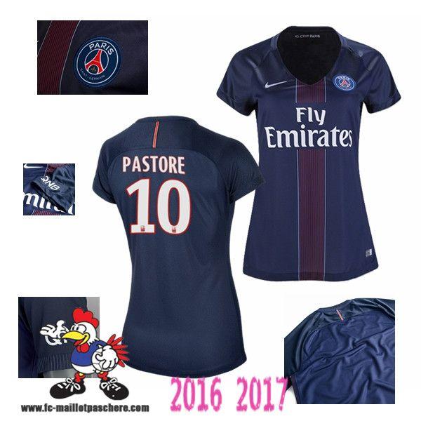 Vente Nouveau Maillot Football Paris Saint-Germain Bleu Femme (PASTORE 10)…