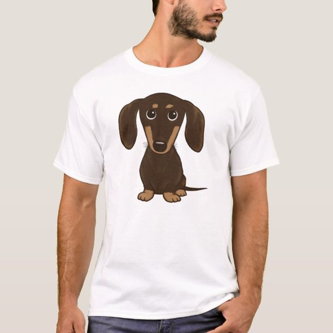 Cute Chocolate Dachshund Cartoon Wiener Dog T Shirt Zazzle Com