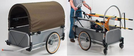 Wike Park Pioneer Cargo Trailer is large enough to contain a lawn mower and a heap of tools. There's even a drop-down tailgate, so you can load and unload the mower easily. With optional extras such as the cover and/or handcart wheels shown here, garden crews can readily ride to work in any weather and then push the trailer around the site. Wike also make a swag of other trailers.
