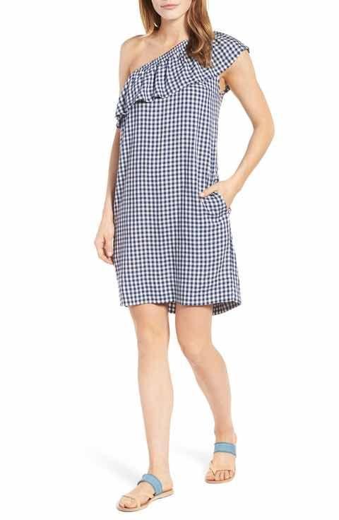 Velvet by Graham & Spencer One-Shoulder Check Dress