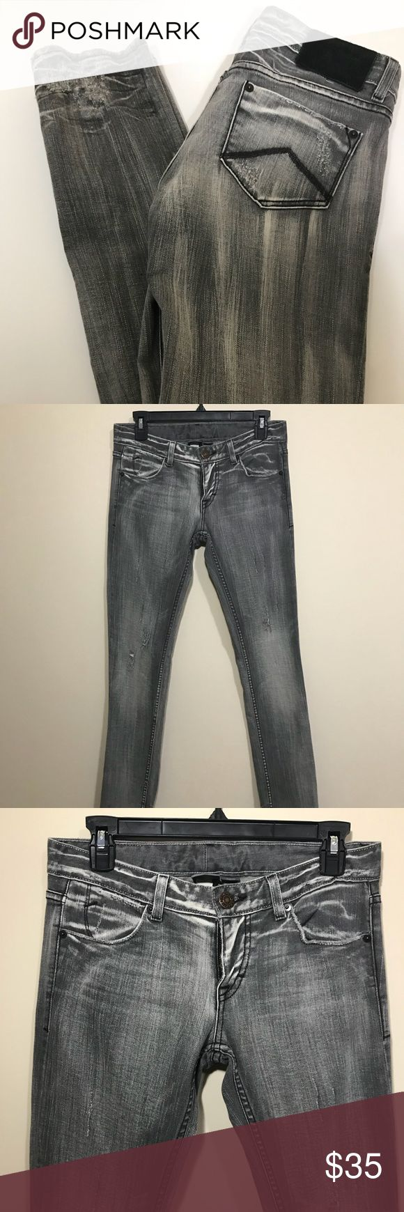 "Armani exchange grey jeans women 4 A/X Armani exchange Grey black distressed destroyed denim jeans. Women 4. Distressed on legs and at back bottom hem. Gently used.  Rise 7"" Inseam 32"" Length 40"" 209-D A/X Armani Exchange Jeans Straight Leg"