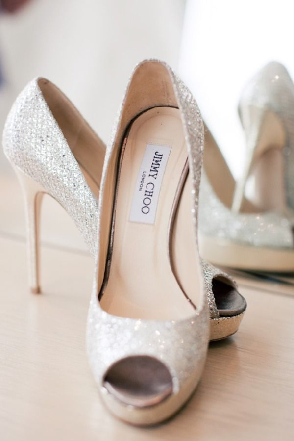 Jimmy Choo. I repined this from http://www.stylemepretty.com/2011/09/22/new-york-wedding-by-katie-osgood-photography/