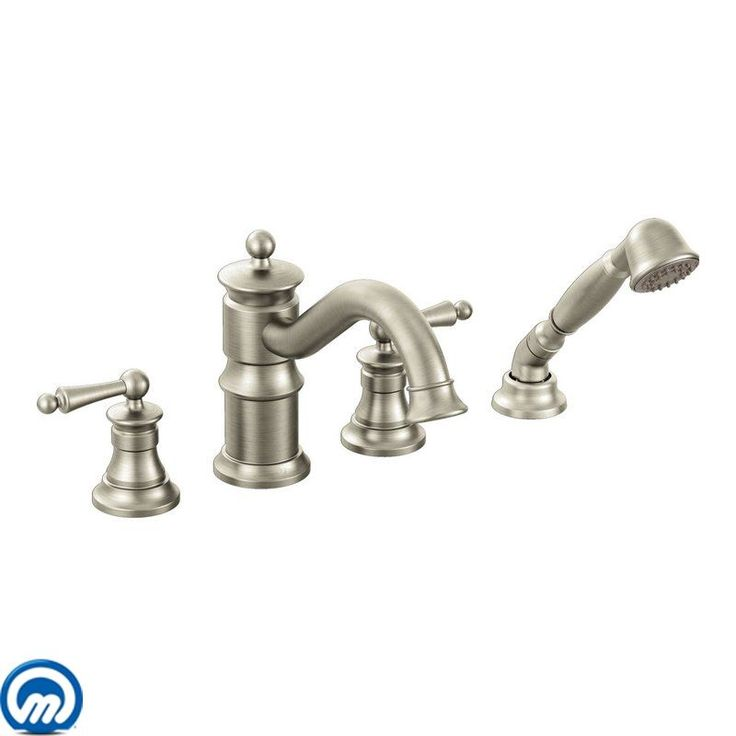Moen TS213 Deck Mounted Roman Tub Faucet Trim with Personal Hand Shower and Buil Brushed Nickel Faucet Roman Tub Double Handle