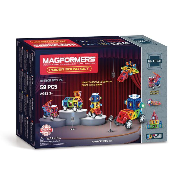 Met Magformers spelen is altijd een feest. Je maakt er de mooiste 2D en 3D creaties mee in vrolijke kleuren. Magformers is fun, educatief speelgoed dat de creativiteit en de ontwikkeling van de hersenen stimuleert. Met de Magformers Power Sound Set maak je het feest helemaal compleet want naast adembenemende creaties, voeg je ook klank en licht aan het spektakel toe. In deze 59-delige set magnetisch speelgoed zit alles om stevig mee uit te pakken. Bouw alle modellen uit het boekje en…
