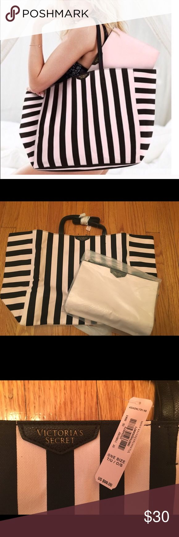 """VS stripe tote bag + accessory bag Brand new VS stripe tote with small accessory bag/clutch. No trades. Approximate size of tote is 23.5""""x 13"""" x 7"""". The pouch is approximately 10.5""""x7.75"""" Victoria's Secret Bags Totes"""