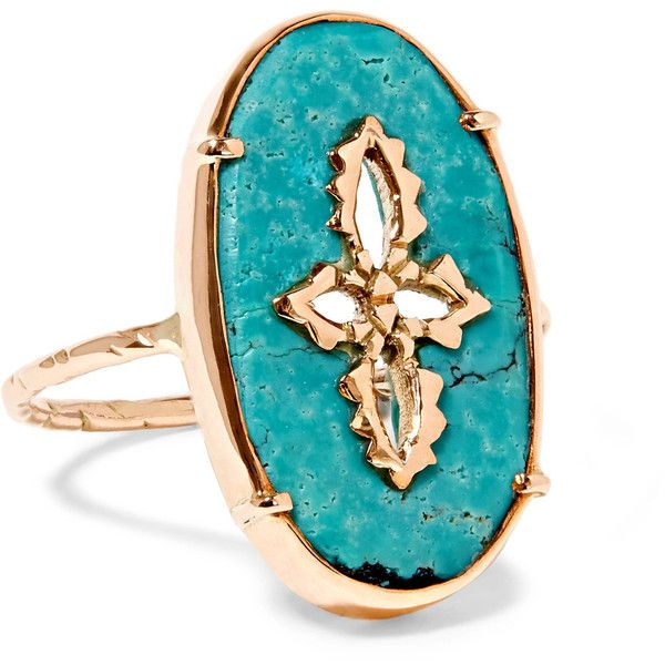Pascale Monvoisin Sunday 9-karat rose gold turquoise ring ($1,075) ❤ liked on Polyvore featuring jewelry, rings, gold, pink gold rings, green turquoise jewelry, rose gold jewellery, turquoise jewellery and blue turquoise jewelry
