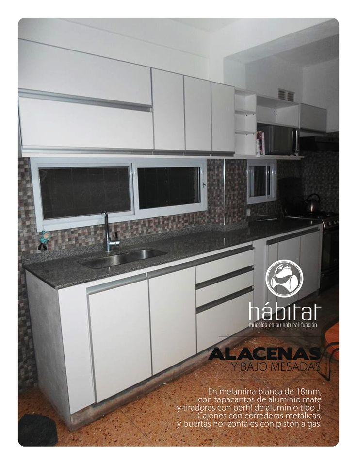 Alacenas y bajo mesadas en melamina blanca de 18mm con for Perfiles aluminio para muebles