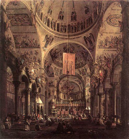 Giovanni Antonio Canal ~ Canaletto ~  (1697-1768)  San Marco - The Interior: ca 1755