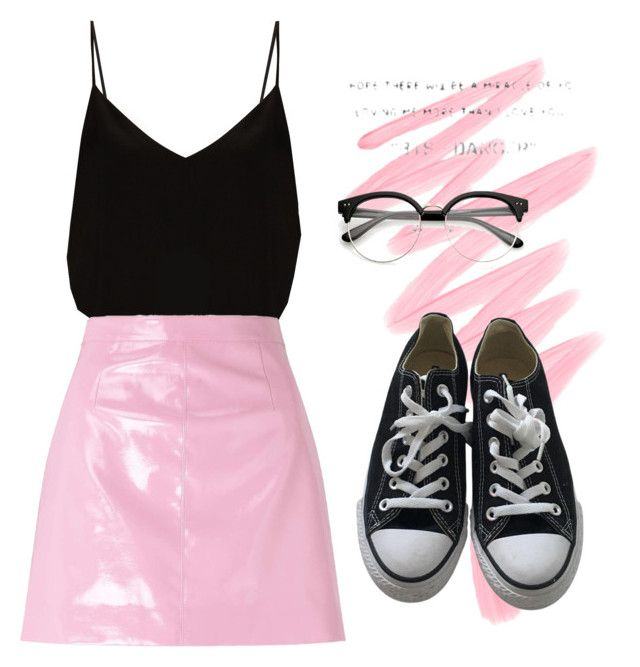 """""""Pink mood Kim"""" by theo-janickova on Polyvore featuring Victoria's Secret, Raey, Miss Selfridge and Converse"""