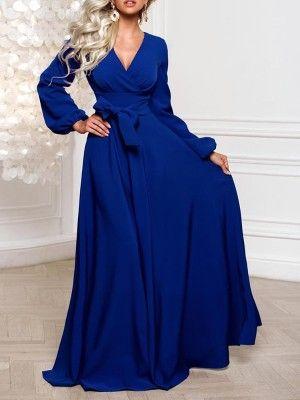 20a52d51d0d5 Lantern Sleeve Wrap Belted Maxi Dress | All About Jeannie!!! | Dresses,  Velvet bodycon dress y Hoco dresses