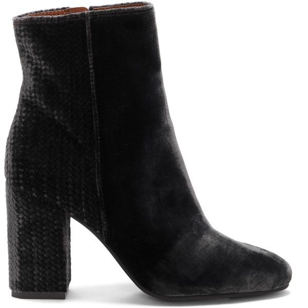 Lucky Brand Wesson Velvet Bootie (782845 PYG) ❤ liked on Polyvore featuring shoes, boots, ankle booties, storm, short boots, ankle boots, velvet boots, velvet booties and ankle bootie boots