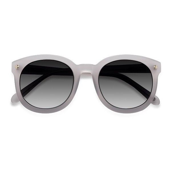 Women's Paige - White round - 16797 Rx Sunglasses ($25) ❤ liked on Polyvore featuring accessories, eyewear, sunglasses, glasses, white lens sunglasses, rounded sunglasses, white sunglasses, vintage glasses and vintage round glasses