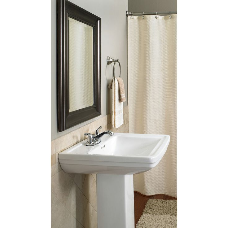 Shop Aquasource 33 1 In H White Vitreous China Pedestal Sink At Lowes Com Pedestal Sink Sink Half Bath Remodel