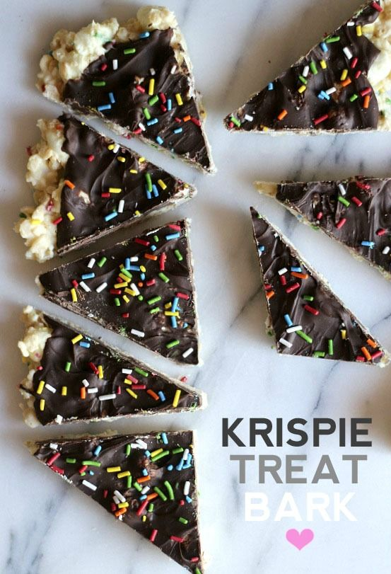Krispie Treat Bark .. A simple twist on Rice Krispie Treats with white and dark chocolate!