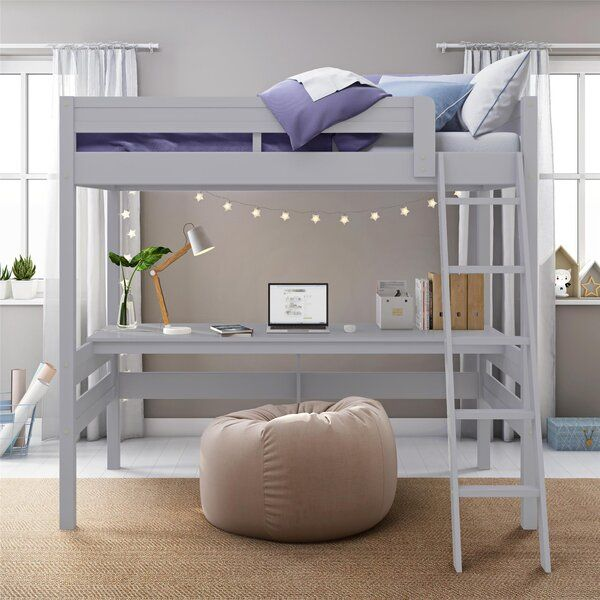 Alfred Twin Solid Wood Loft Bed With Built In Desk By Viv Rae In 2021 Loft Beds For Teens Loft Beds For Small Rooms Twin Loft Bed