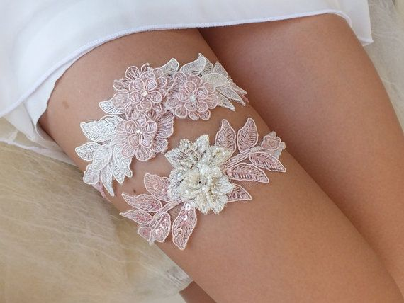 pink ivory garter set wedding garters bridal garters by ByVIVIENN