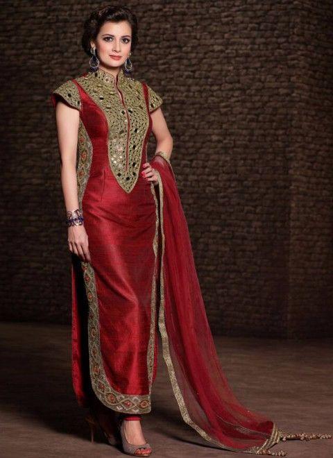 Maroon Banarasi Silk Dia Mirza  Churidar Suit   Top : Raw silk with Mirror work Bottom : Santoon Dupatta : Chiffon