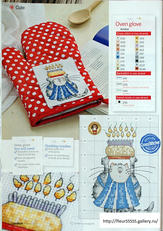 Culinary Cats Oven Glove by Margaret Sherry CrossStitcher Issue 222 & The Best of Margaret Sherry Book