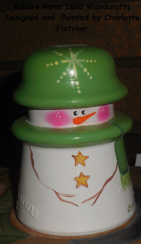 Unique Green Snowman Glass Insulator Painted by RomaLandWoodcrafts