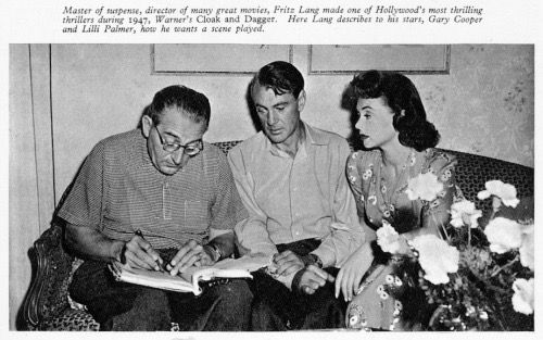 Director Fritz Lang with Gary Cooper and Lilli Palmer on the set of Cloak and Dagger, 1946.