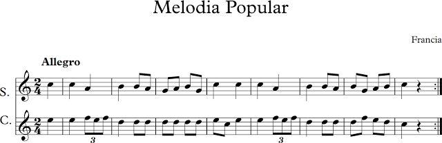 Melodía Popular-Francesa. Dúo Soprano y Contralto.