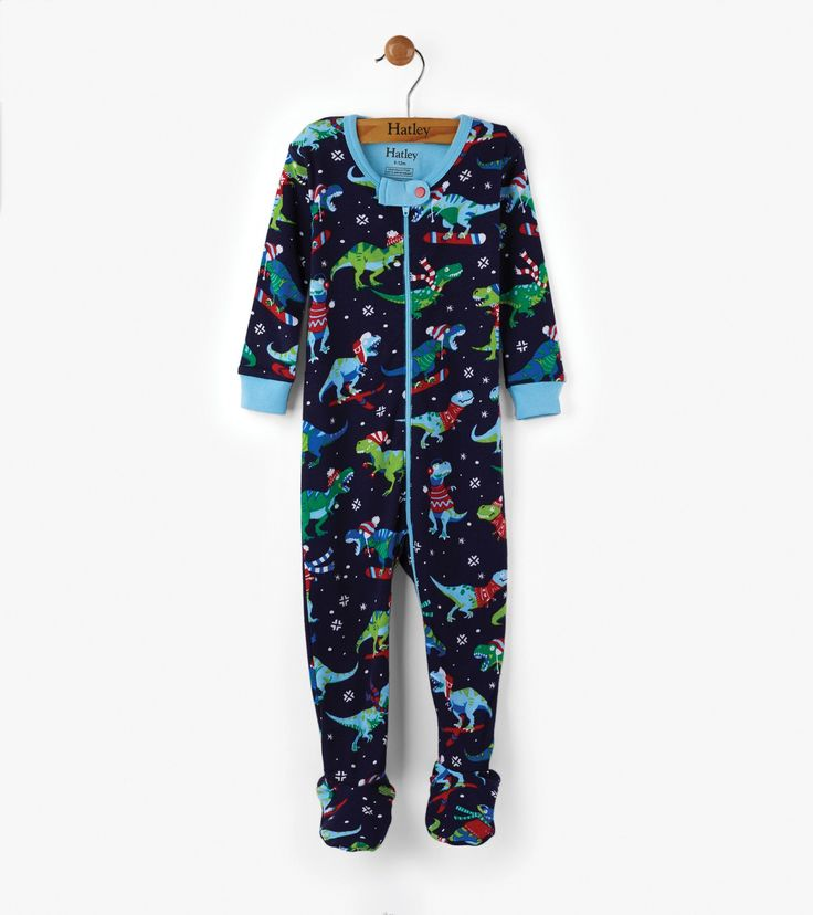 Winter Sports T-Rex Organic Cotton Baby Footed Coverall - Sleepwear - Shop All - Baby Boys  | Hatley Canada
