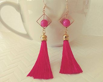 Tassel Earrings I Geometric Tassel Earrings I Pink Tassel Earrings I Silk Tassel I Geometric Earrings I Statement Earrings I Gold Earrings