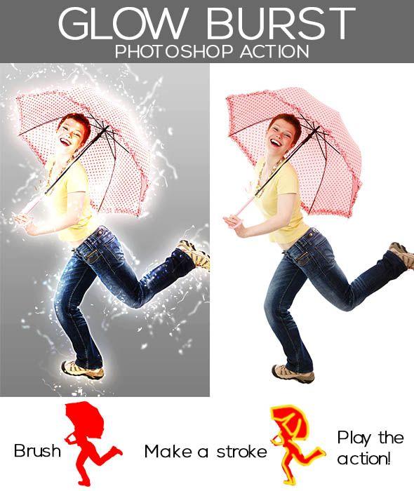 GraficAction | Glow Burst Photoshop Action
