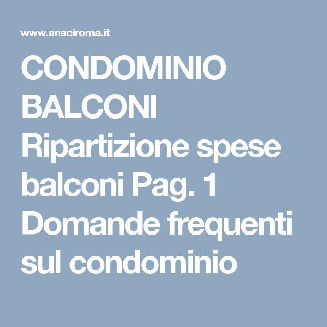 CONDOMINIO BALCONI Ripartizione spese balconi Pag. 1
