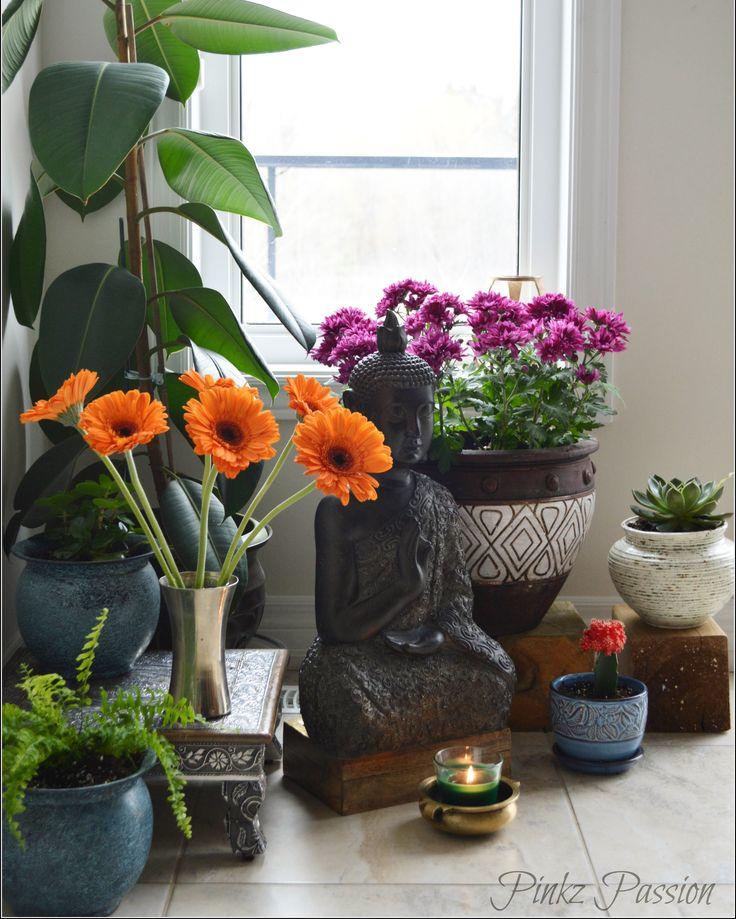 Indoor garden, zen place, Buddha corner, indoor plants styling, interiors with plants, zen corner, peaceful corner, green corner, global decor