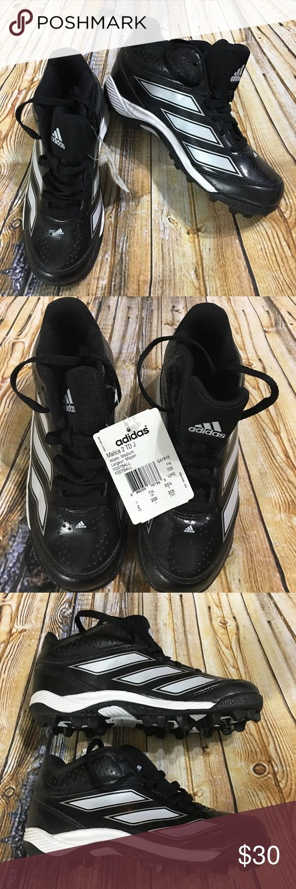 Adidas Malice 2 TD J Youth Football Cleats Size 2 This is a pair of Youth Adidas Malice 2 TD J Black and White Football Cleats Youth Size 2. These cleats are in excellent new condition. Please take a look at all photos for condition and if you have any questions feel free to ask. adidas Shoes