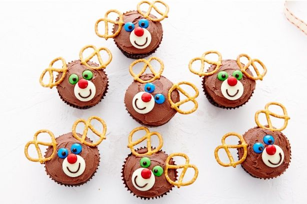Cute little Reindeer cupcakes are the perfect treat for little Christmas helpers.