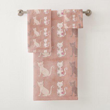 Cat Silhouette Pattern on Brown Bath Towel Set - patterns pattern special unique design gift idea diy