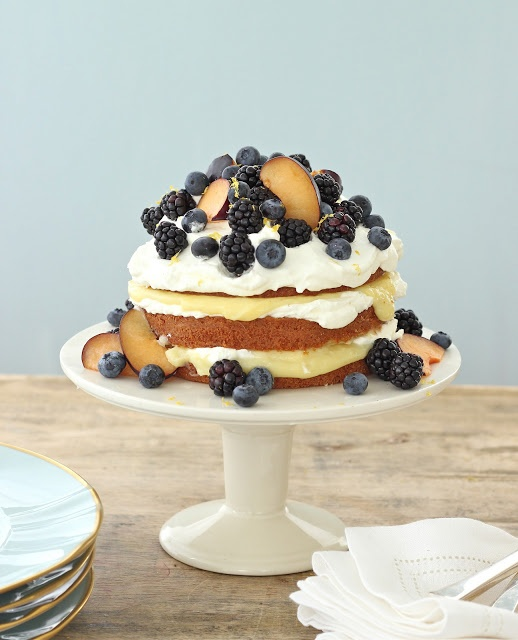 Vanilla Pound Cake with Lemon Curd Creme, Blackberries, Blue Berries & Black Plums