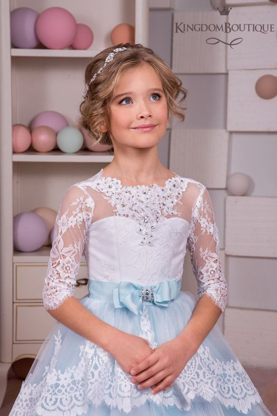 White and Blue Lace Flower Girl Dress от KingdomBoutiqueUA