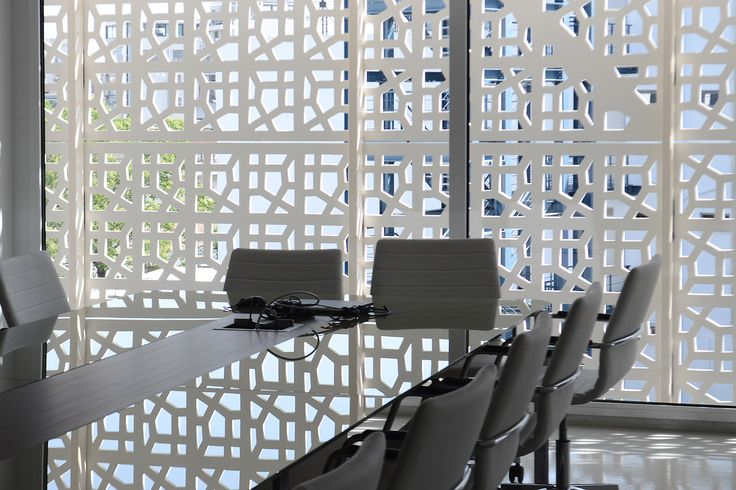 Interior of perforated facade. The panels are made of aluminium honeycomb.