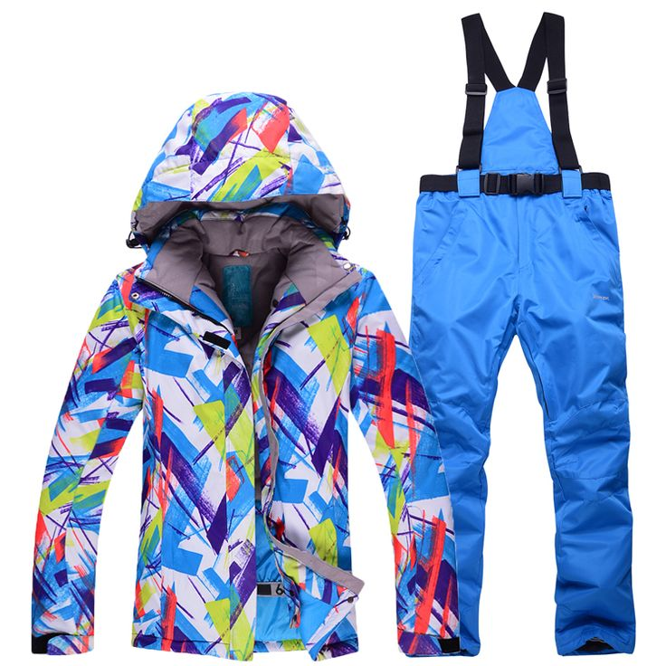 New Colorful woman outdoor skiing suit sets snowboarding clothes waterproof winter Snow Suit jackets  bibs pants ski Costumes