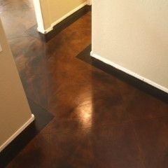 polished and stained concrete floor