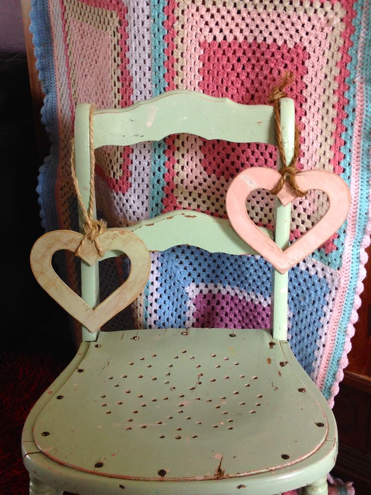 Vintage Style Chair with Wooden Hearts on a String.