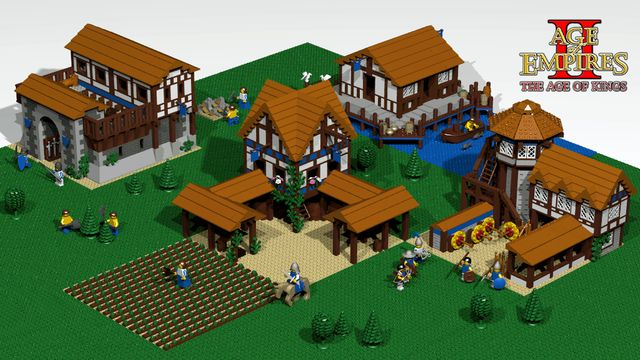 Age Of Empires II buildings made out of Legos.