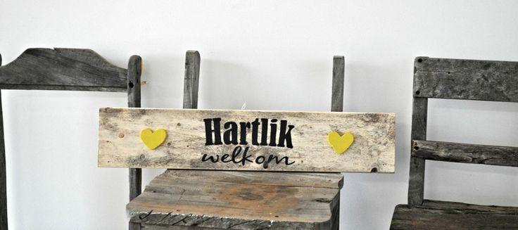 Hartlik Welkom Wooden Wall Art by Platteland Décor for sale on http://hellopretty.co.za