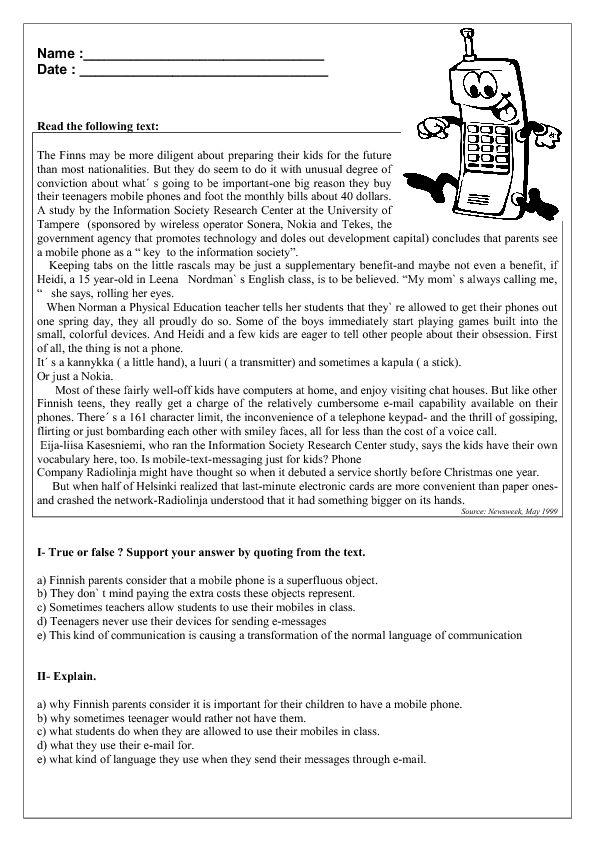 Mobile Phones Reading Prehension Worksheet