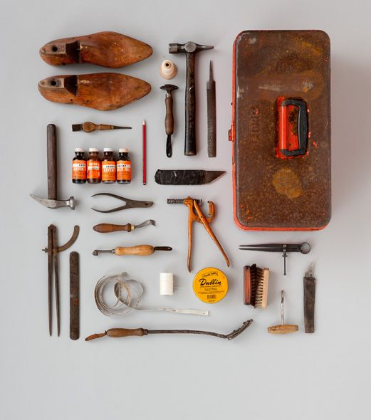 Cool display of a cobblers toolbox. Photo is by Hilary Walker and is called 'James Roberts, for Frankie'.