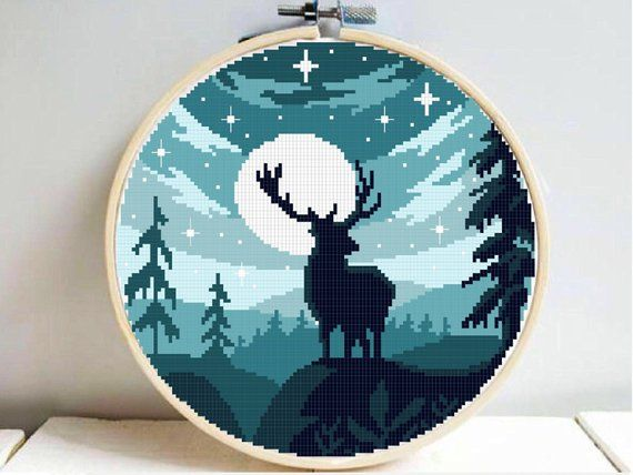 Moon night deer silhouette modern cross stitch pattern, Easy landscape nature cross stitch, counted cross stitch, mountains, trees, pdf