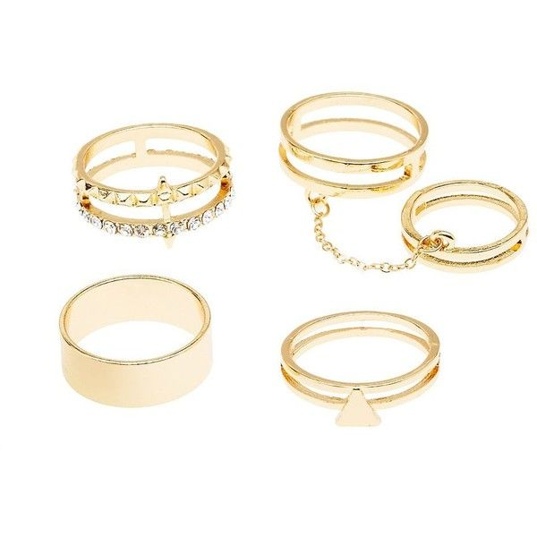 Charlotte Russe Caged Stackable Rings - 4 Pack found on Polyvore featuring jewelry, rings, gold, chains jewelry, chain ring, charlotte russe, charlotte russe rings and cage rings