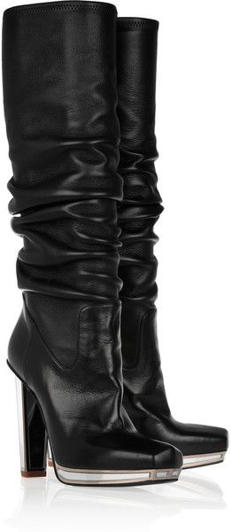 pinterest.com/fra411 #shoes -  YVES SAINT LAURENT Mirrored-heel Stretch-leather Knee Boots - Lyst