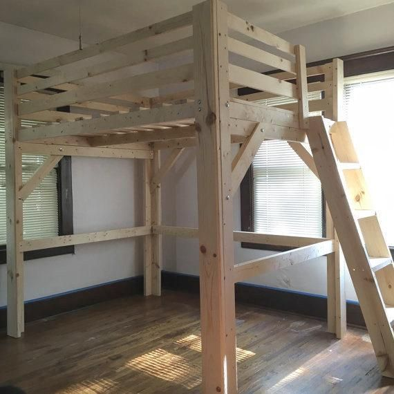 Solid Wood Loft Bed Queen Or Full Size Smooth Finish 68 Height Clearance Or Lower Under Adultloftbed Solid Wood Lof Queen Loft Beds Loft Bed Loft Bed Plans