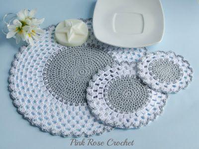 PINK ROSE CROCHET: Centrinhos Classic Place Mat Coaster