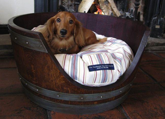 Wine Barrel DIY - Pet Bed.. needs a more decorative pillow but very fun design for a study.