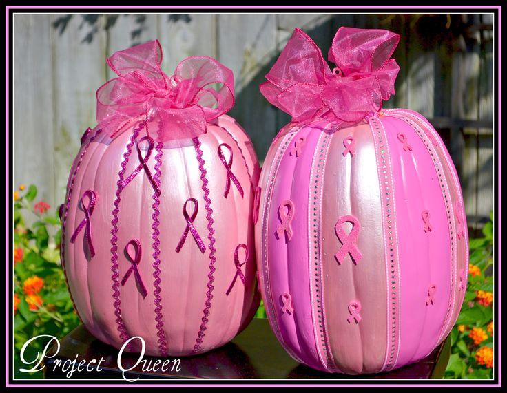 Pink ribbon pumpkins for breast cancer awareness.